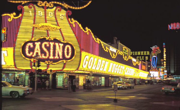 Golden Nugget Casino in Dowtown Las Vegas year 1980, vintage