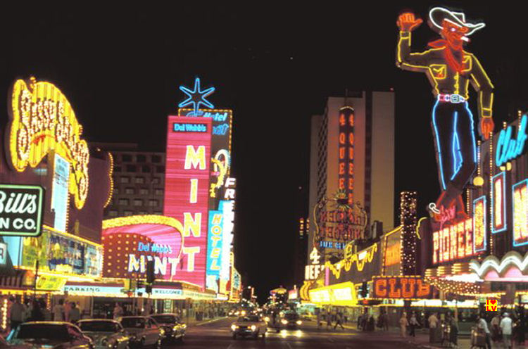 Downtown Las Vegas in 1980, old Vegas and neons